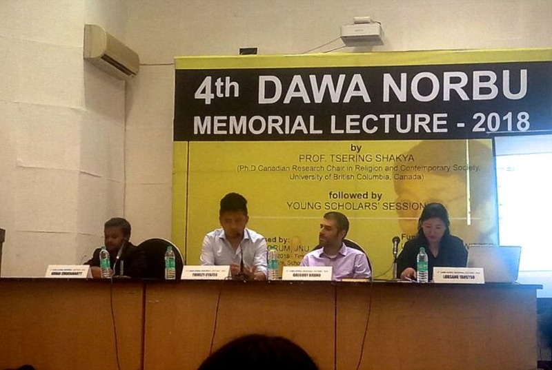Tibetan political scientist Dawa Norbu's memorial lecture was held at Jawaharlal Nehru University, New Delhi on April 9, 2018. Photo: TPI/Yangchen Dolma