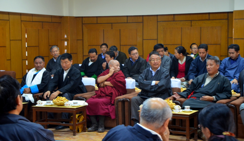 Top officials during the swearing-in ceremony of new Speaker of the Tibetan parliament in Dharamshala, India, on Dece,ber 1, 2018. Photo: TPI/Divya Pandey