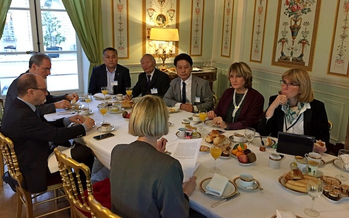 Representative Tashi Phuntsok at the Breakfast discussion on Tibet with Deputy Tutu Picard, President of Tibet Group in the French National Assembly, Senator Andre Gattolin, Vice President of Tibet Group in the French Senate, Deputy Michele de Vancouleur, Deputy Florence Grenjus and Ms Katia Buffetrille, 5 December 2018. Photo/Bureau du Tibet