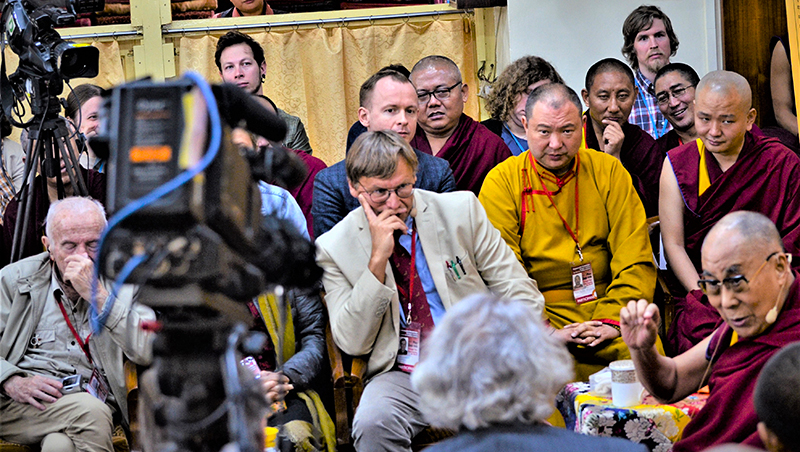 His Holiness the Dalai Lama during the first day of the Dialogue between Russian and Buddhist Scholars in Dharamsala, India on May 3, 2018. Photo: TPI/Yeshe Choesang