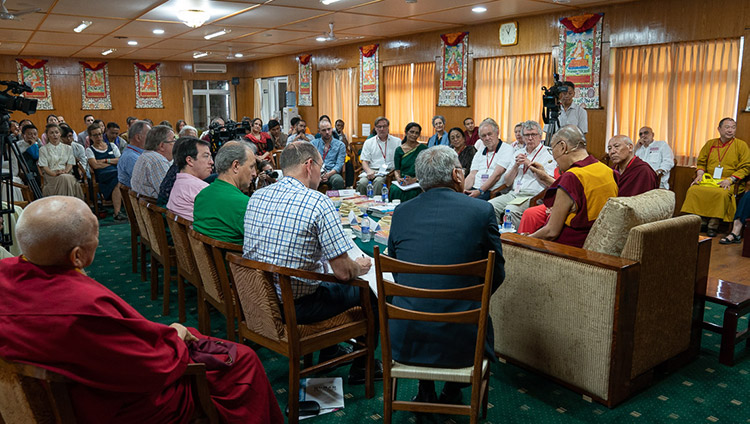 His Holiness the Dalai Lama speaking to educators participating in the conference on Human Education in the Third Millennium duing their meeting at his residence in Dharamsala, HP, India on July 8, 2019. Photo by Tenzin Choejor