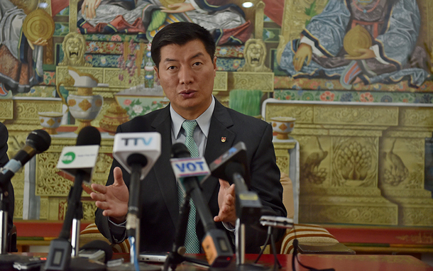 Dr Lobsang Sangay President of the Central Tibetan Administration making the official announcement of the long-life prayer offering, during a press conference at Kashag Secretariat, Dharamshala, India, March 18, 2019. Photo/Tenzin Jigme/CTA