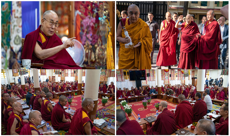 His Holiness the Dalai Lama at the First Conference on Kalachakra at the main Temple in Dharamshala, HP, India on May 5, 2019. Photo by Tenzin Choejor