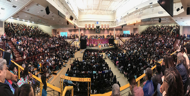 A panoramic view of more than 4000 in attendance at President Dr Sangay's commencement at Santa Fe Indian School. Sikyong Office